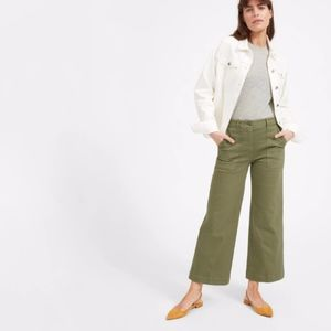 Everlane The Wide Leg Green Crop Utility Pant 14